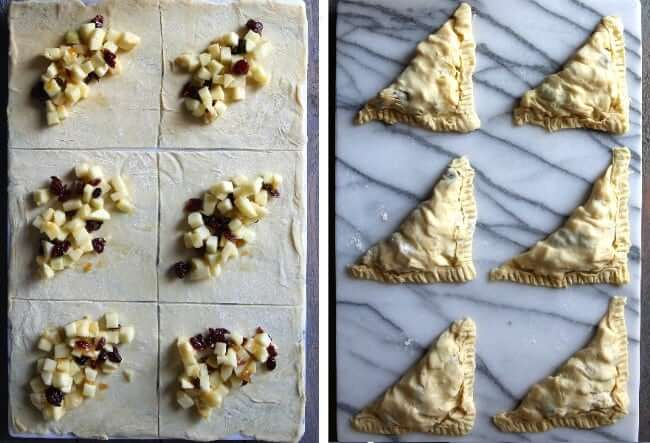 Two photos - one showing how much filling to lay on the turnover squares and one with the turnovers shaped.