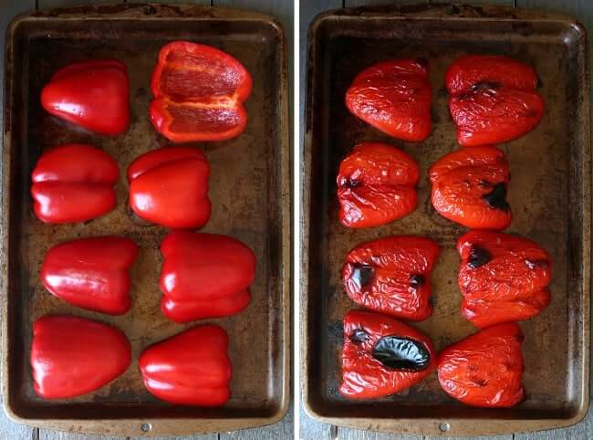 Two photos showing red bell peppers before roasting and after.
