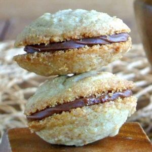 Close up of two chocolate filled cookies in a square photo.