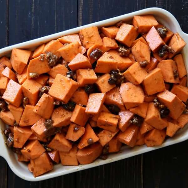 Raw sweet potato casserole waiting to go in the oven.
