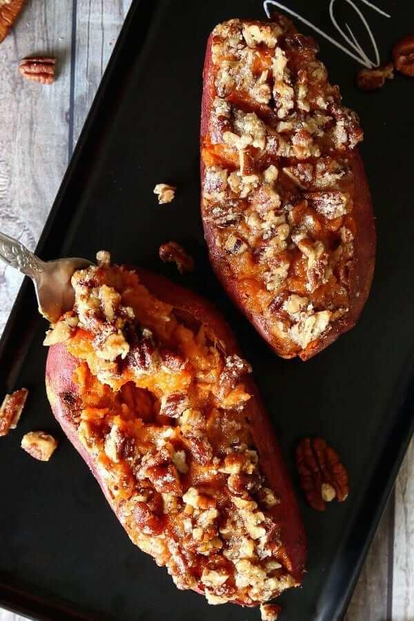 Stuffed sweet potatoes in an overhead photo.