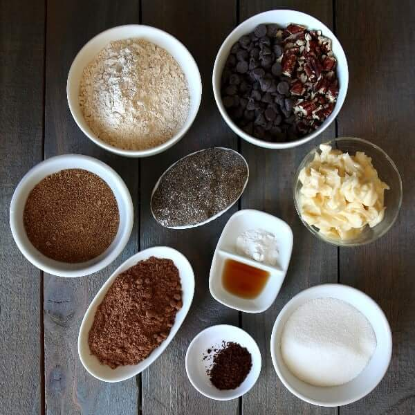 Above head view for the ingredients for easy brownie recipe with cocoa powder