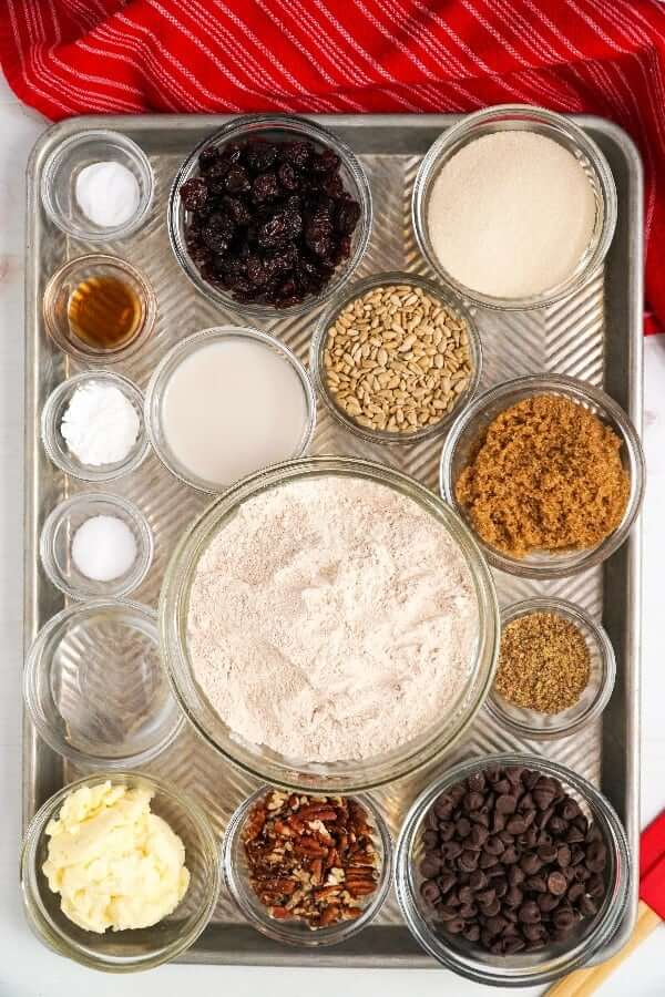 Overhead view of all of the ingredients for polka dot pecan cookies.