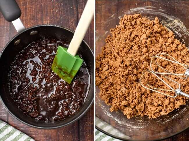 Two photos of making raisin filled cookies. One is the jam and the other is the dough.