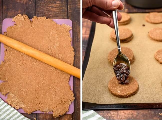 Two photos showing the processes rolling out sandwich cookies and cutting the dough.