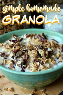 Close-p cropped bowl of date bar granola with text above for pinning.
