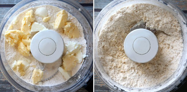 Two photos and overhead photos of flour and butters in a food processed and then when it has been combined.