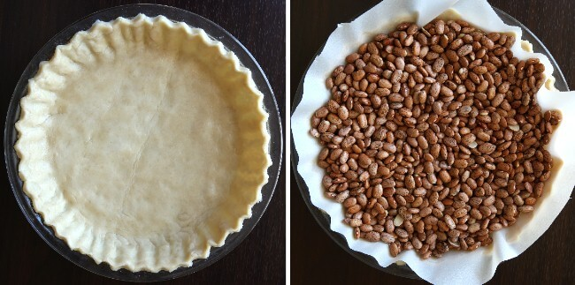 Two overhead photos. One of a finished pie crust and a pie plate and then filled with dried beans for pre-baking.