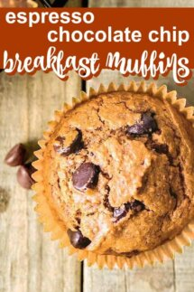Overhead view of one chocolate chip muffin with text above .