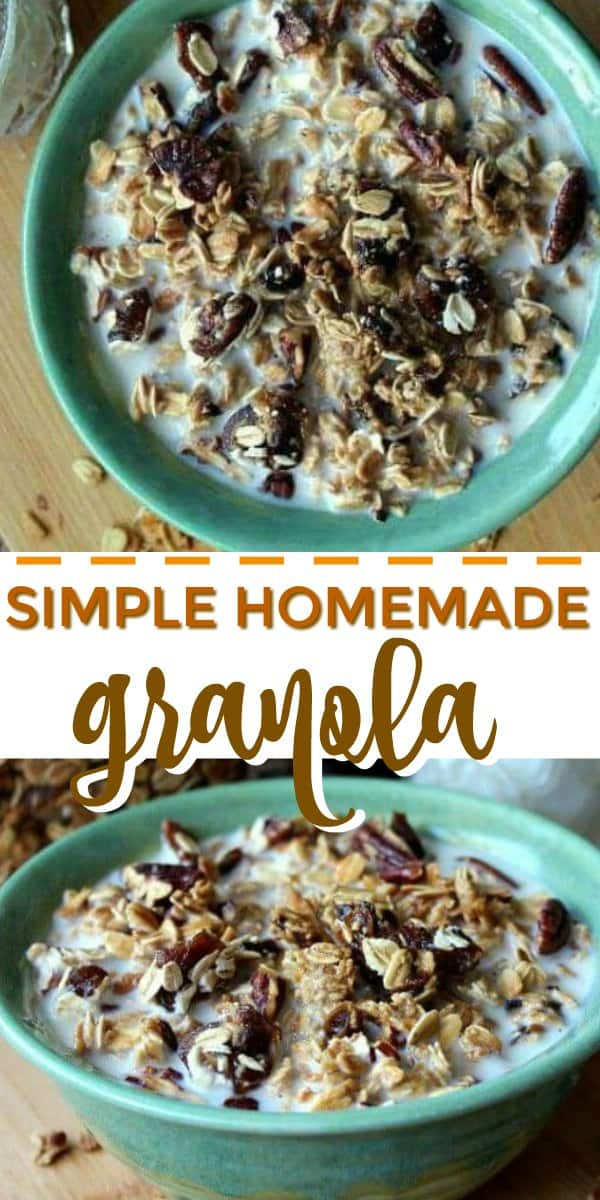 Two photos ne above the other with text in the middle explaining Vegan Granola Cereal.