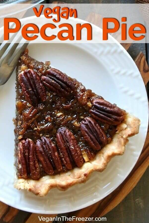 Overhead photo of a large slice of pecan pie on a white plate with text above.