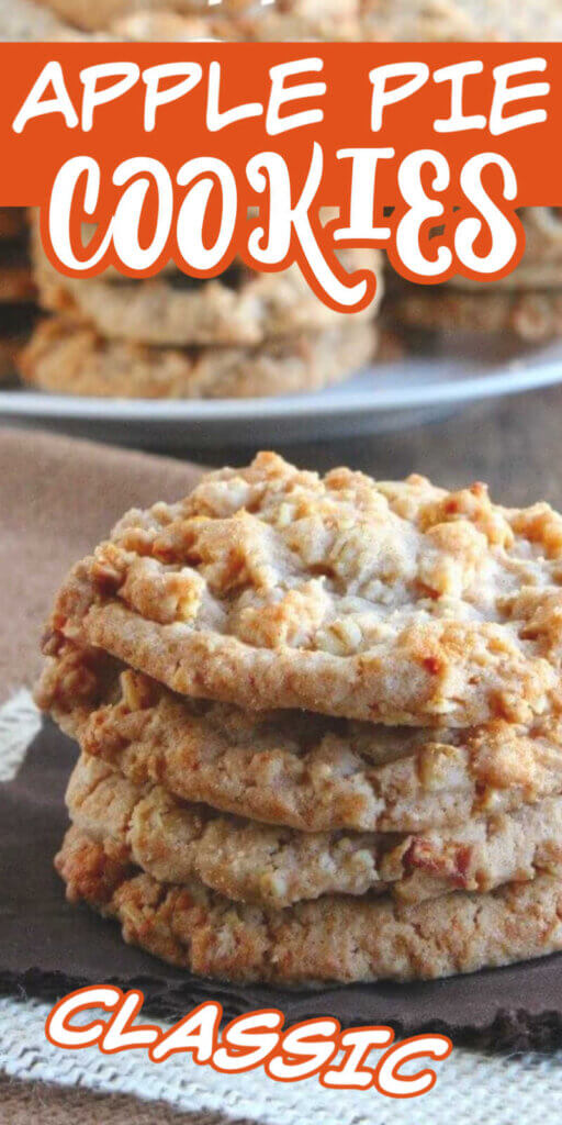 Extra long photo of a stack of apple filled cookies on a brown napkin. There is text above for Pinterest.