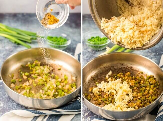 Two process photos with the first showing sautéing the veggies and the second has the cooked rice being added to the skillet.