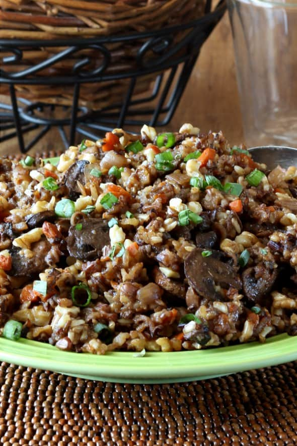 Cropped close-up front view of grains and veggies.