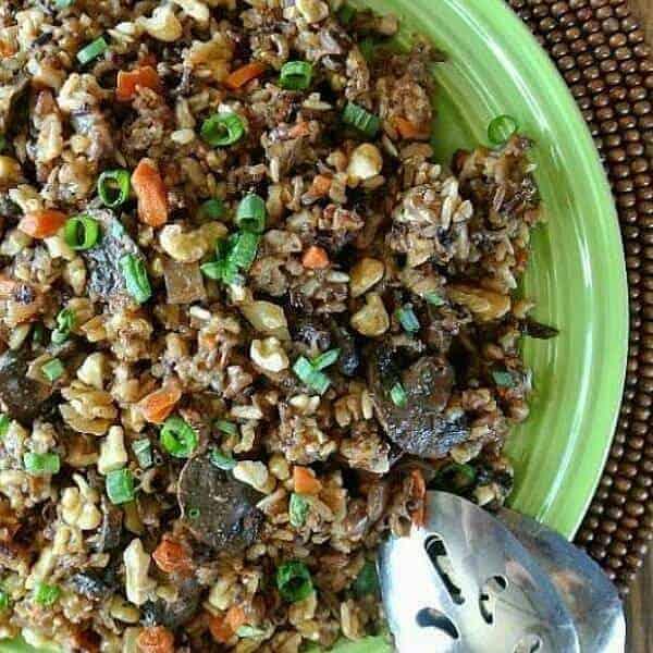 Close-up photo of wild rice and veggies.