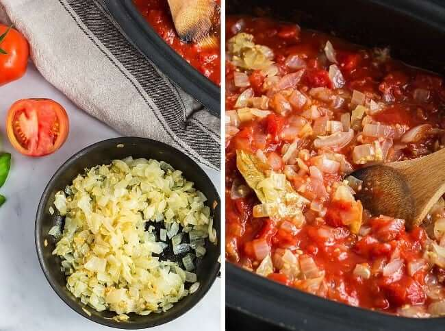 Two process photos. One with sauteed onions and the other is a crockpot full of the ingredients and mixed.