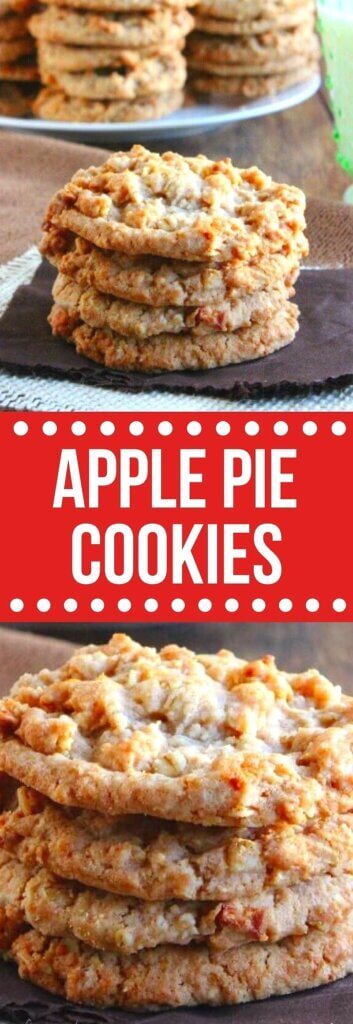 Two photos one above the other showing a stack of four cookies with little bits of apple making the tops of the cookies bumpy. Red center with text for pinning.