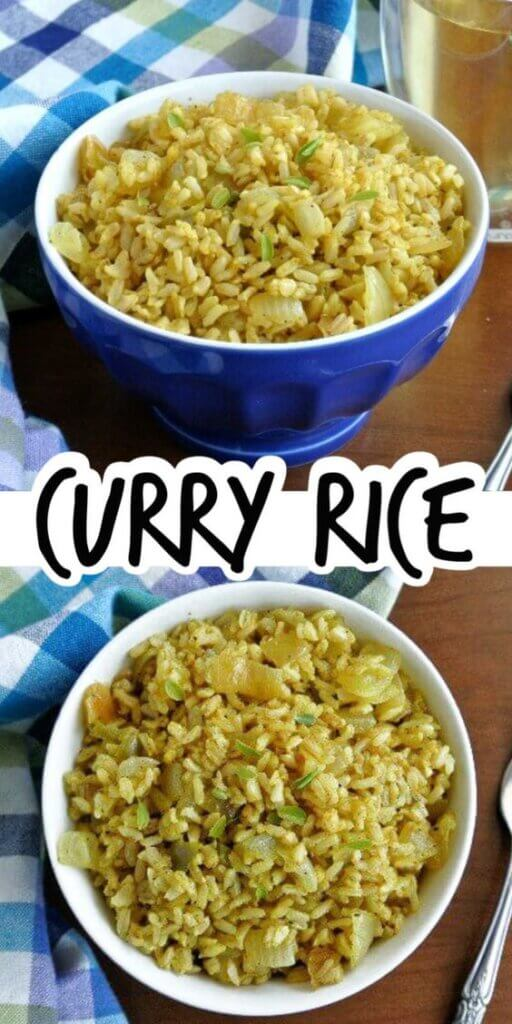Two photos one above the other showing golden curry rice in cobale bowls at different angles. Text in the center for Pinterest.