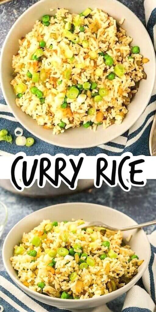 Two photos one above the other with yellow curried rice in an ivory bowl with peas.