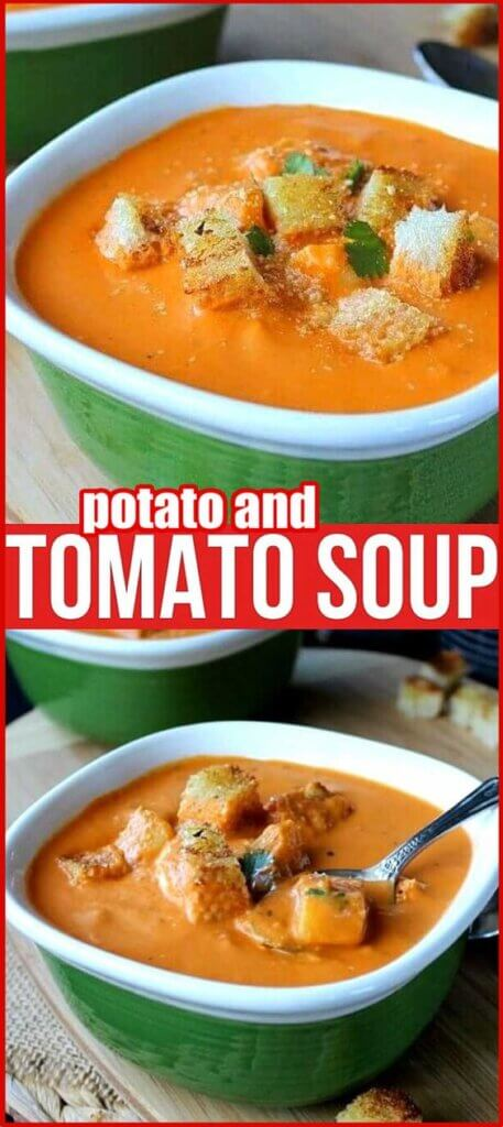 Tomato soup with croutons and potato cubes poking through the top.