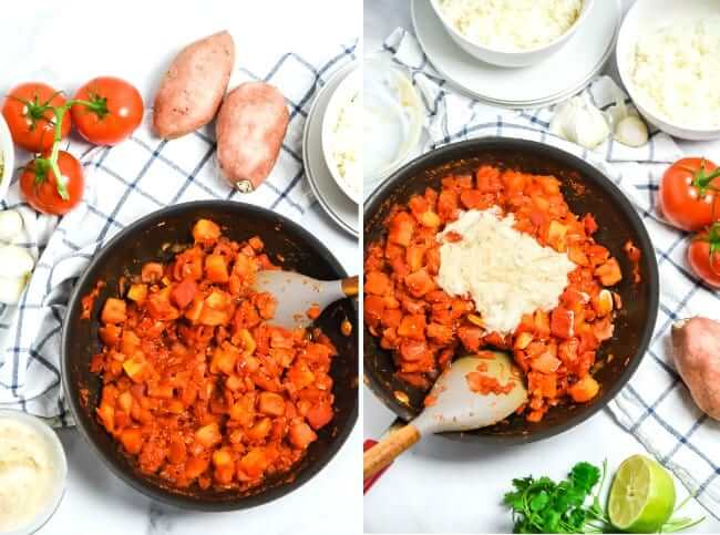 Two photo process shot of tomatoes and sweet potatoes in a skillet and stirring in more ingredients.