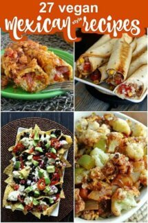 Four photos of different types of Mexican style food recipes.