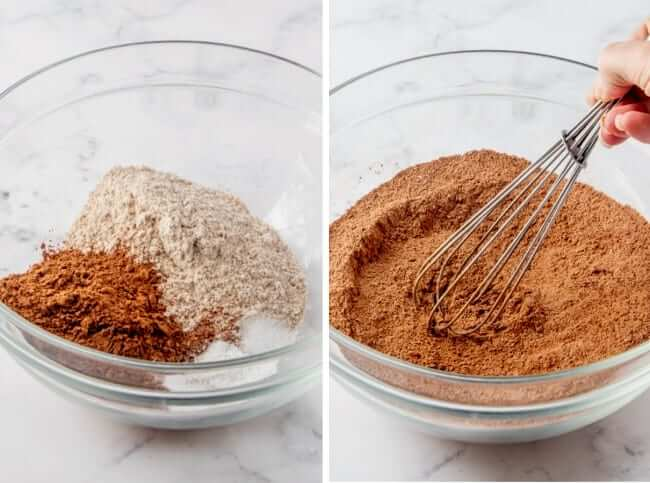 First two steps photographed of the dry ingredients including cocoa powder being stirred together.