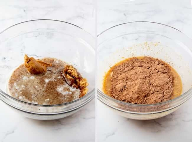 Next two steps photographed of peanut butter and liquids being added to the bowl of dry ingredients.