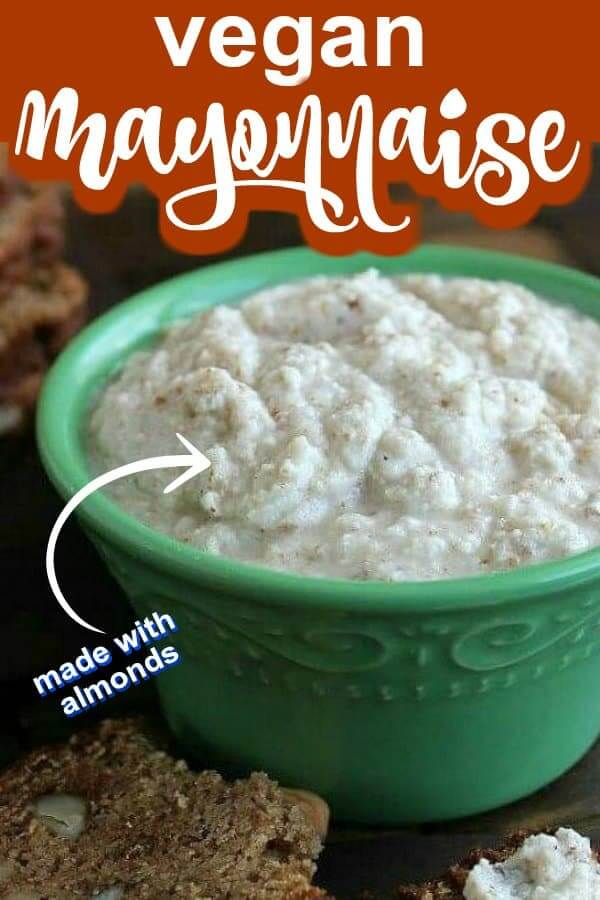 Close cropped photo of almond mayonnaise with wording for pinterest.