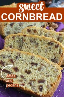 Layers of slices of cornbread dotted with dates and pecans in the mix.