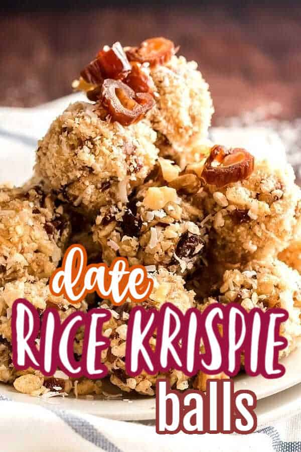 Pile of rice krispie covered balls stacked high on a white plate and sprinkled with date bits.