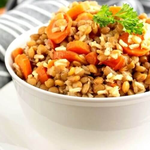 Side view of a white bowl piled with lentils, carrots and rice casserole.