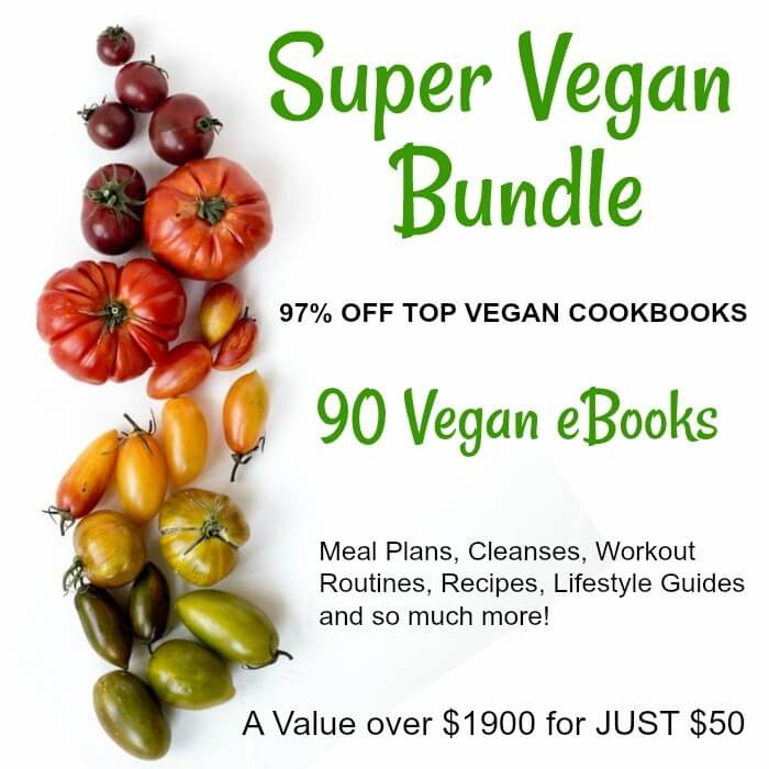 the left had a vertical row of colorful tomatoes with script on the right for a vegan ebook bundle.
