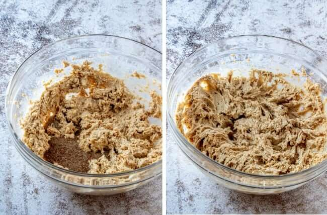 Two photos with first ingredients added to a large bowl and then showing the light and fluffy dough after being beater.