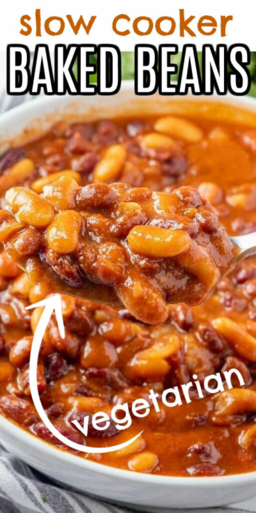 Close up of a white blow full of rich brown baked beans with text above and belwo for pinning.