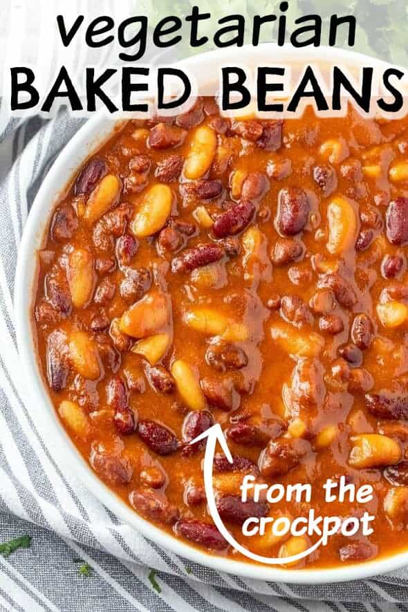 Overhead photo of a white bowl full of multi types of baked beans.