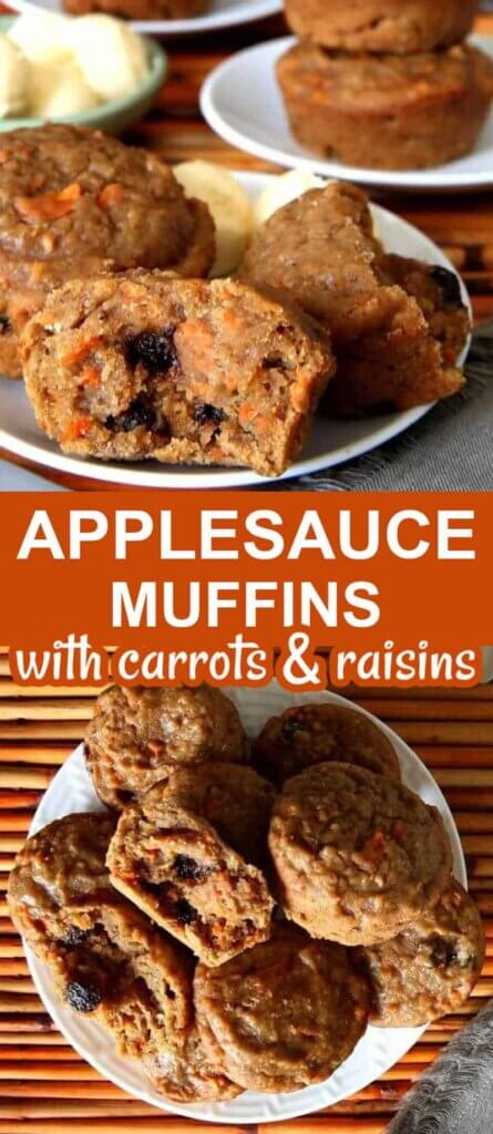 Two photos one above the other of Applesauce muffins and one broken open to see the carrots and raisins on the inside.