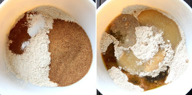 Two photos, one with the muffins dry ingredients and the second photo shows the wet ingredients being added to the dry.