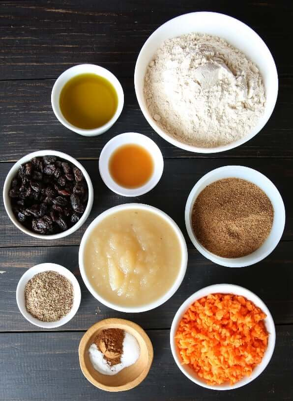 Overhead photo of each ingredient in it's own individually sized bowl for healthy carrot muffins.