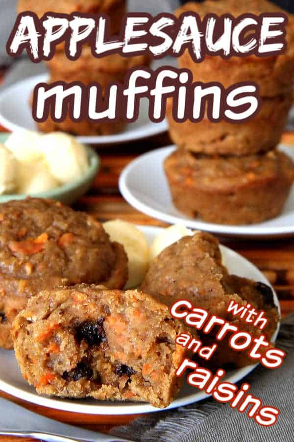 Close up photo of lots of muffins with carrots and corn with text for Pinterest.