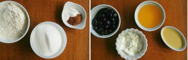 Ingredients for a sour cream cake in different shaped small white bowls.