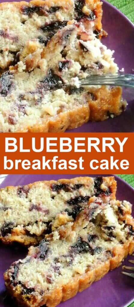 Two photos one above the other with slices of blueberry cake with the top photo having a fork cutting out a bite. Text on orange in the center.