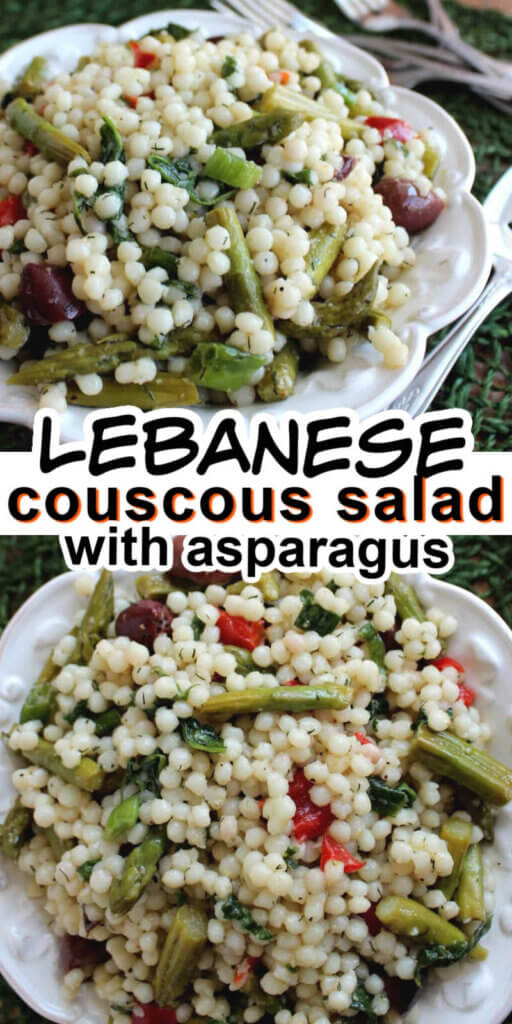 Two photos one above the other showing colrful couscous salas with asparagus in a white bowl against green.