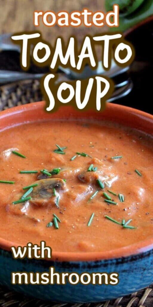 Cropped photo on both sides with a blue handled bowl filled with thick creamy tomato soup with text above.