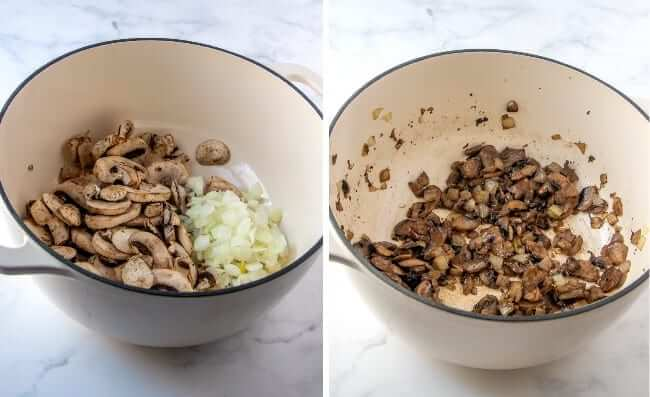 Two process photos of mushrooms and onions ion a pan both before and after sautéing.