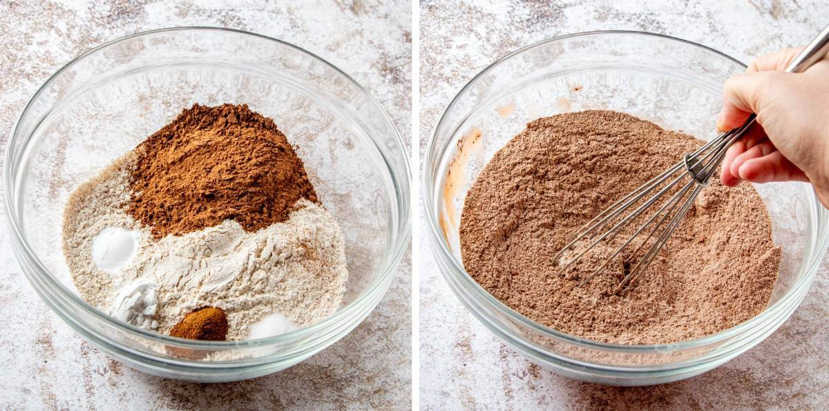 Two process photos showing ingredients in a clear bowl and then mixed together.