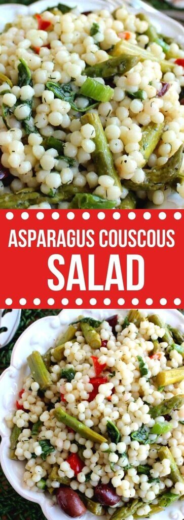 Two photos one above the other with a closeup and a bowl full of large couscous beads mixed with asparagus.