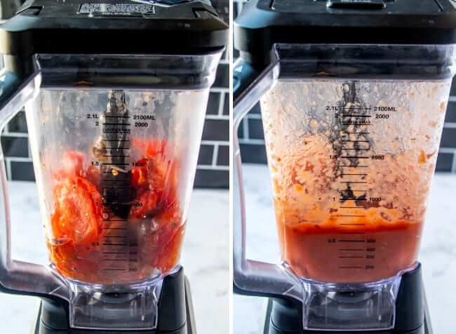 Two photos of a blender with before and after photos of blended soup ingredients