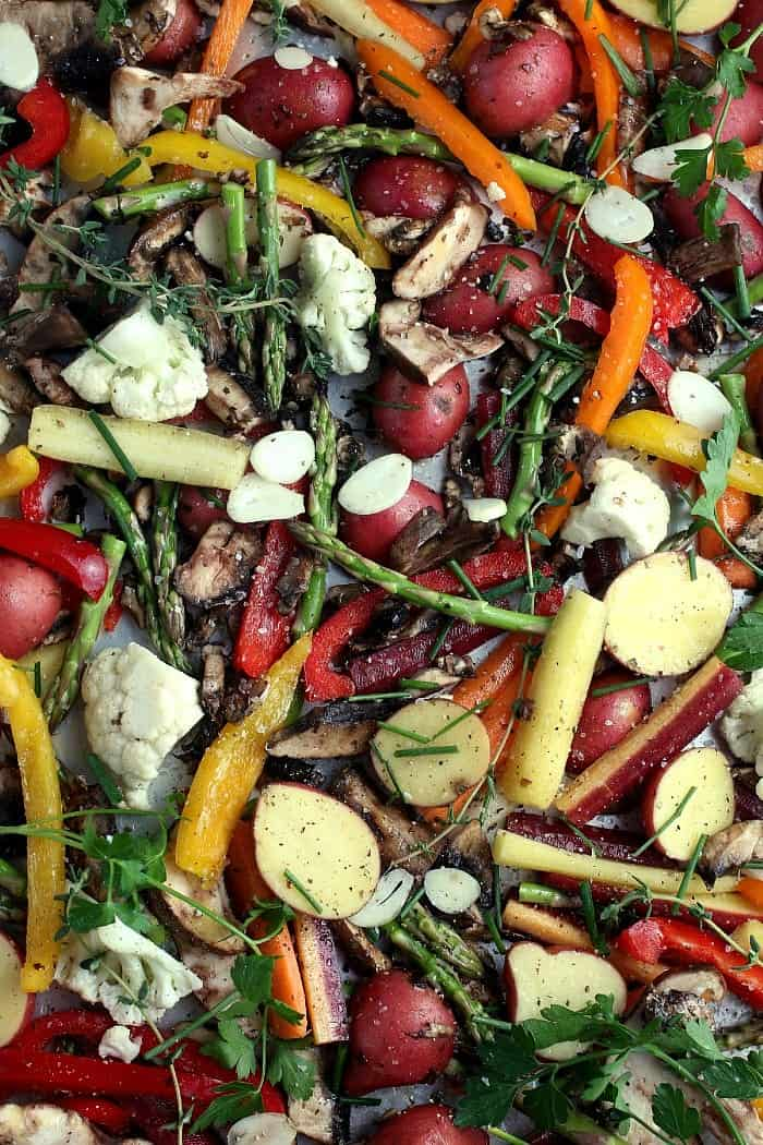 FA slew fresh vegetables tossed with each other and also a few ingredients for roasting.