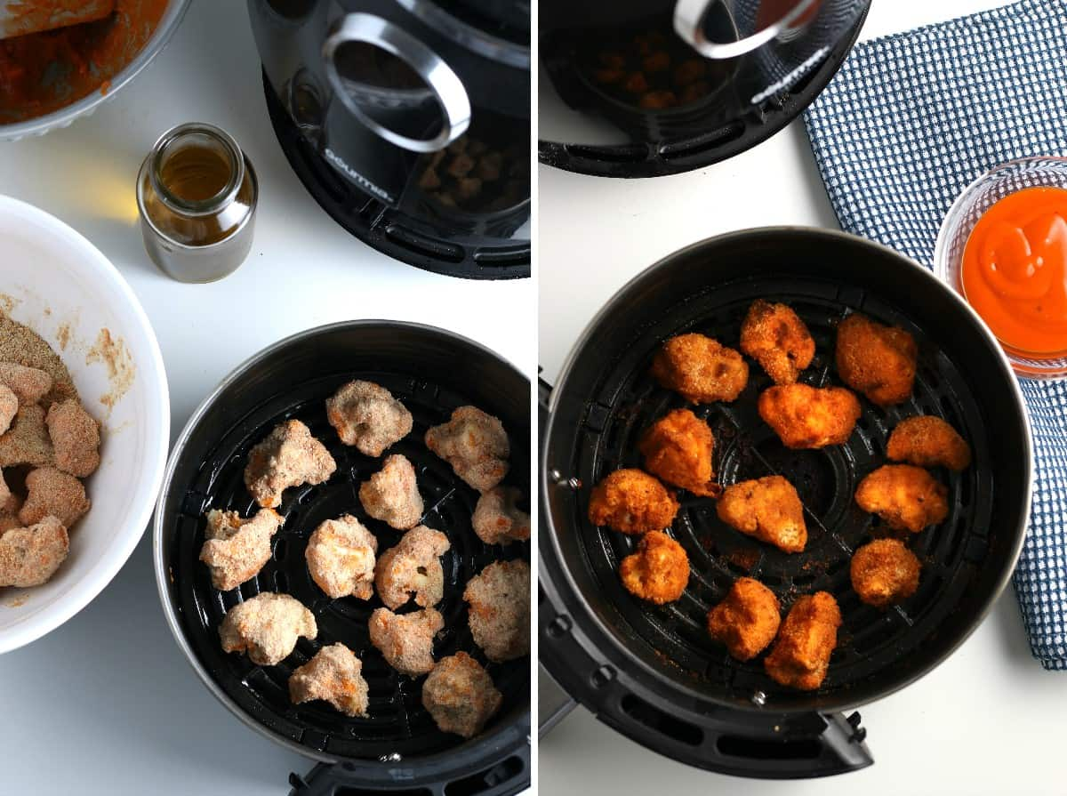 Two photos showing placing coated buffalo wings in an air fryer and then showing them when they are still in the fryer but done.